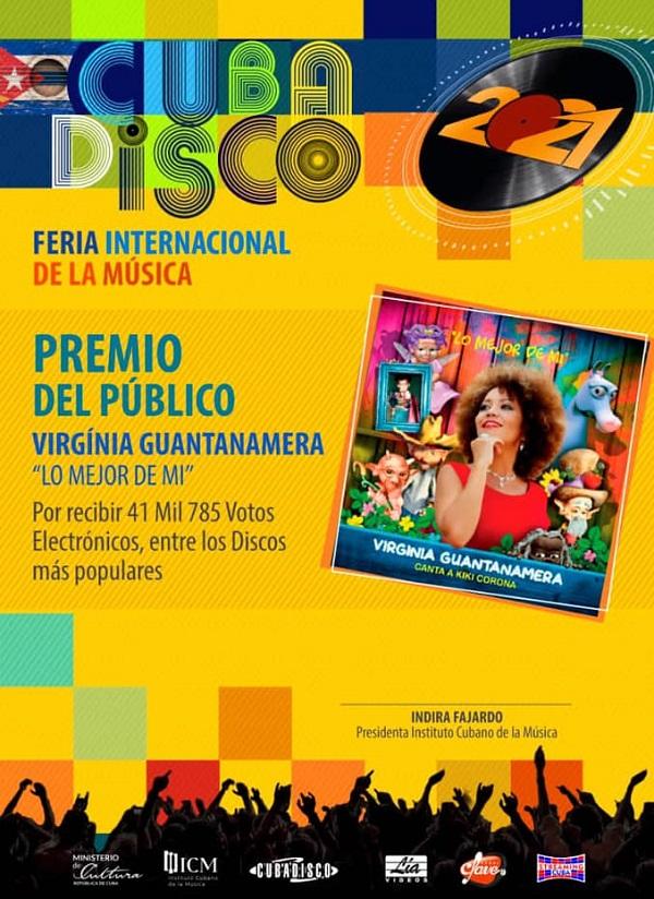 Conquista cantante Virginia Guantanamera Premio del Público del Cubadisco 20-21