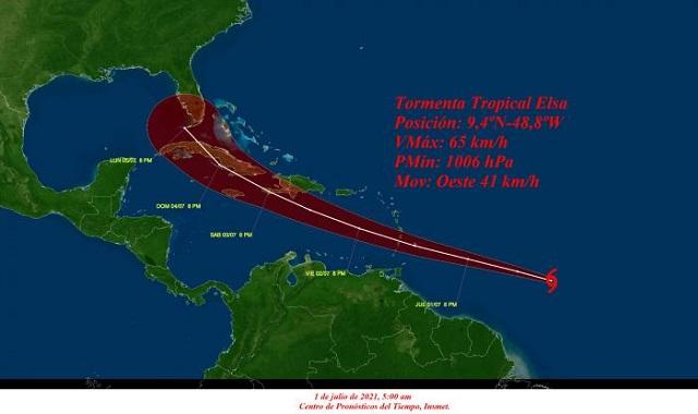 Estado Mayor Nacional de la Defensa Civil emite aviso de alerta temprana sobre la tormenta tropical Elsa