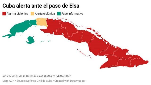 Ya hay Alarma ciclónica para el centro; Alerta para La Habana y Mayabeque y fase informativa para el resto del occidente